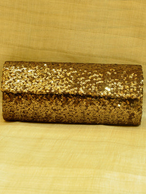 Dark Bronze Sequinned Satin Clutch Bag with Flap - The India Craft House
