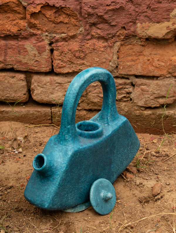 Delhi Blue Art Pottery Curio - Flat Teapot - The India Craft House