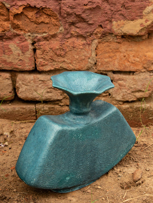 Delhi Blue Art Pottery Curio - Flat Vase - The India Craft House