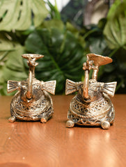 Dhokra Craft Candle Holders - Elephants (Set of 2)