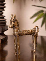 Dhokra Craft Curio - Horse with Intricate Patterns (Small)