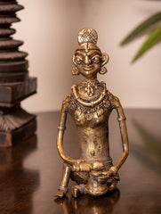 Dhokra Craft Curio - Lady with Basket (Medium)