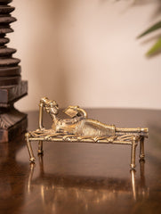 Dhokra Craft Curio - Reclining lady with book
