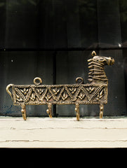 Dhokra Craft Wall Hanger - Horse (Medium;  4 Hooks)