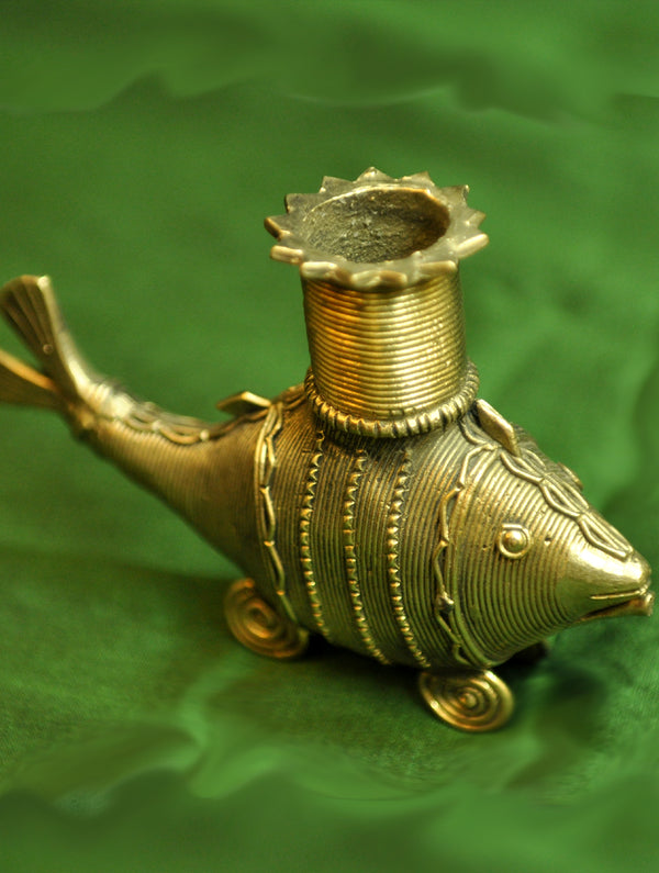 Dhokra Craft - Candle Stand, Fish, Small - The India Craft House