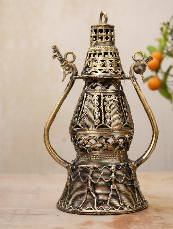 Dhokra Craft - Exquisite Lantern with Intricate Filigree Work - The India Craft House