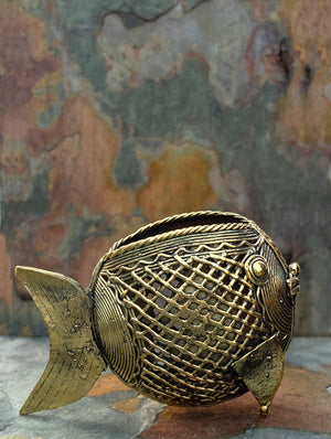 Dhokra Craft - Fish Pen Stand - The India Craft House