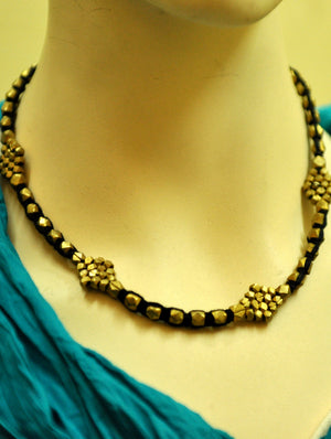 Dhokra Craft Brass Beads & Thread Necklace - The India Craft House