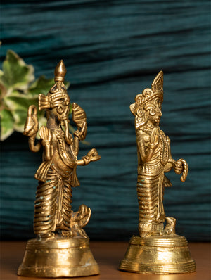 Dhokra Craft Curio - Ganesha & Laxmi, (Set of 2 Pcs) - The India Craft House