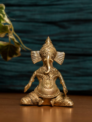 Dhokra Craft Curio - Ganesha Musician - The India Craft House