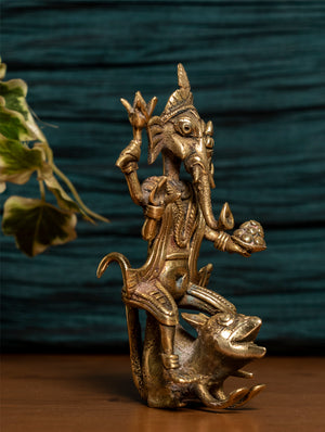 Dhokra Craft Curio - Ganesha Sitting on Rat - The India Craft House