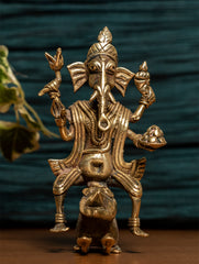 Dhokra Craft Curio - Ganesha Sitting on Rat