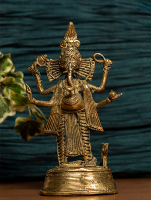 Dhokra Craft Curio - Ganesha Standing - The India Craft House