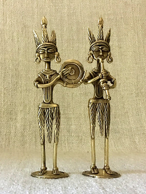 Dhokra Craft Curio - Musicians (Set of 2) - The India Craft House