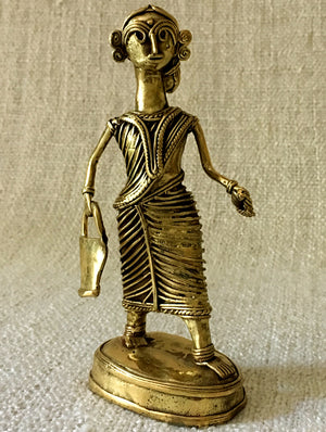 Dhokra Craft Curio - Woman with Pail - The India Craft House 1