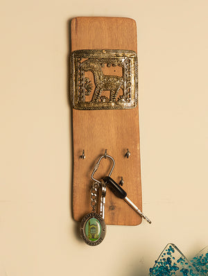 Dhokra Metal Craft on Wood Key Hanger - The India Craft House