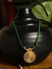 Dhokra Metal Spiral Pendant & Green Thread Necklace