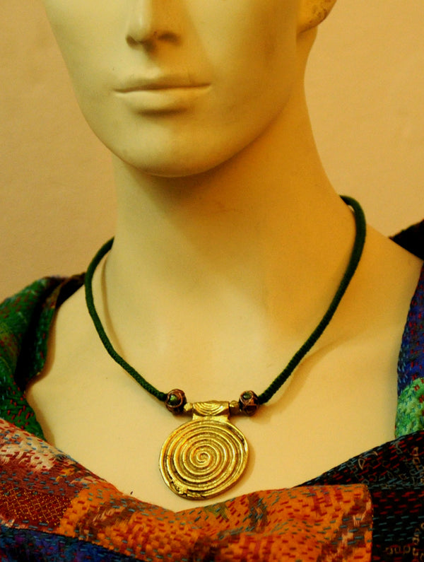 Dhokra Metal Spiral Pendant & Green Thread Necklace - The India Craft House