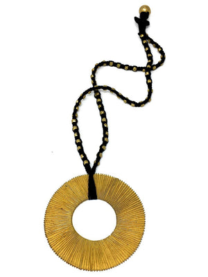 Dhokra Metal & Thread Necklace with Spiral Pendant - The India Craft House