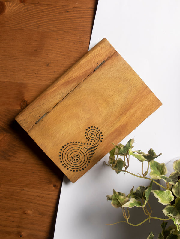 Wooden Engraved Paper Holder - The India Craft House