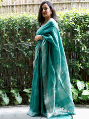 Elegant Linen Saree With Silver Trimmings - Green & Dull Silver