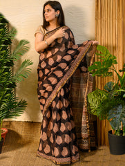 Elegant & Cool. Soft Bagru Block Printed Kota Doria Saree (With Blouse) - Black Leaf print