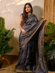 Elegant & Light. Bagru Block Printed Chanderi Saree (With Blouse) - Blue Grey