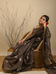 Elegant & Light. Bagru Block Printed Chanderi Saree (With Blouse) - Brown