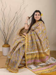 Elegant & Light. Bagru Block Printed Chanderi Saree (With Blouse) - Sunshine Yellow