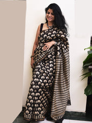 Elegant in Black. Fine, Soft Block Printed Chanderi Saree (With Blouse Piece)