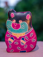 Embossed Leather - Piggy Bank, Cat, with Button, Multicoloured