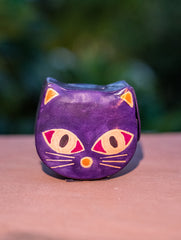Embossed Leather - Piggy Bank, Cat, with Button, Multicoloured, Small