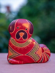 Embossed Leather - Piggy Bank, Dog, with Button, Multicoloured