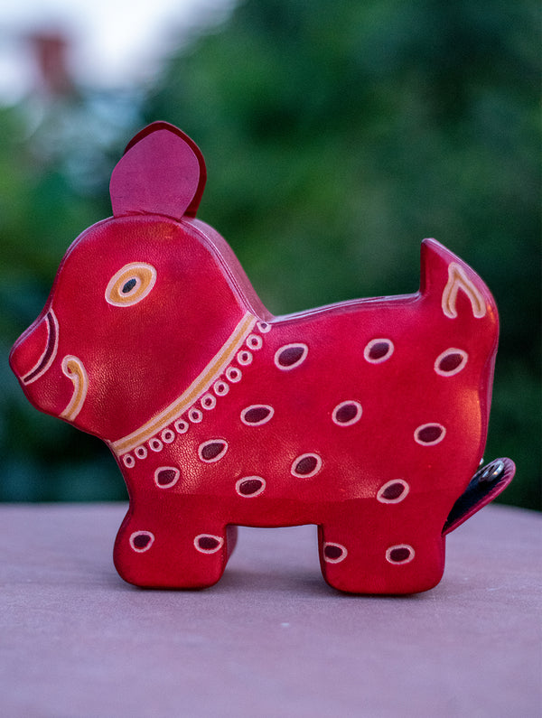Embossed Leather - Piggy Bank, Puppy, with Button, Multicoloured