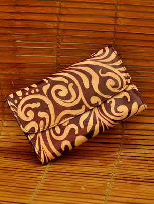 Embossed Leather - Clutch Bag, Brown Oriental, Small - The India Craft House 1