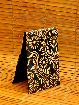 Embossed Leather - Paper Holder, Black Oriental - The India Craft House 1