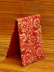 Embossed Leather - Paper Holder, Red Oriental
