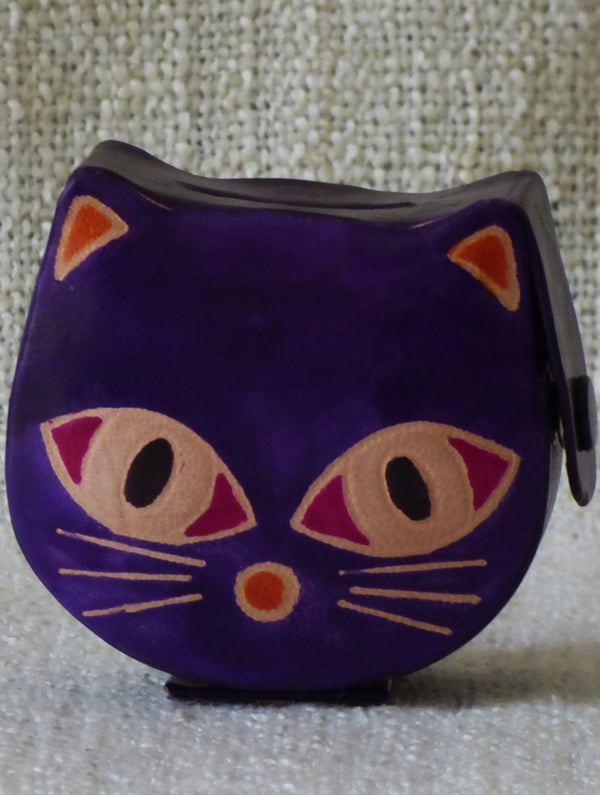 Embossed Leather - Piggy Bank, Cat, with Button, Multicoloured, Small - The India Craft House