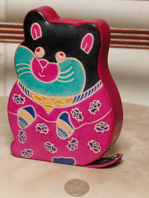 Embossed Leather - Piggy Bank, Cat, with Button, Multicoloured - The India Craft House