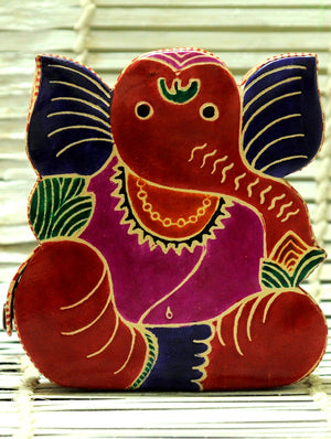 Embossed Leather - Piggy Bank, Ganesh, with Button, Multicoloured, Small - The India Craft House