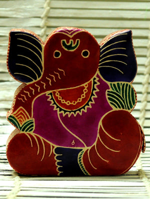 Embossed Leather - Piggy Bank, Ganesh, with Button, Multicoloured, Small - The India Craft House 1