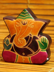 Embossed Leather - Piggy Bank, Ganesh, with Button, Multicoloured, Small