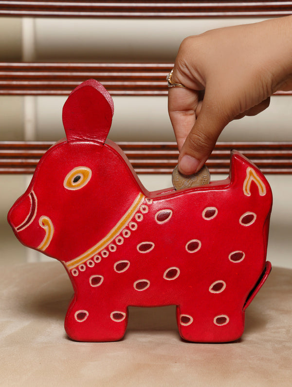 Embossed Leather - Piggy Bank, Puppy, with Button, Multicoloured - The India Craft House