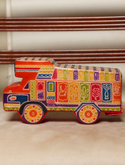 Embossed Leather - Piggy Bank, Truck, with Button, Multicoloured