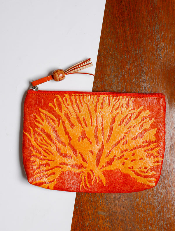 Embossed Leather - Utility Pouch - The India Craft House