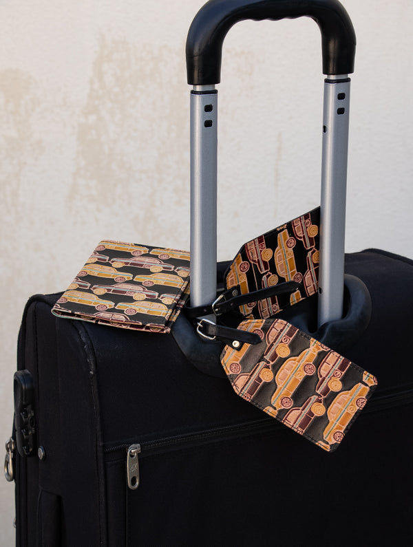 Embossed Leather Travel set - Passport cover & Luggage tags - The India Craft House