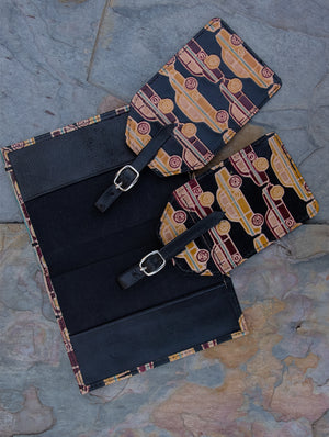 Embossed Leather Travel set - Passport cover & Luggage tags