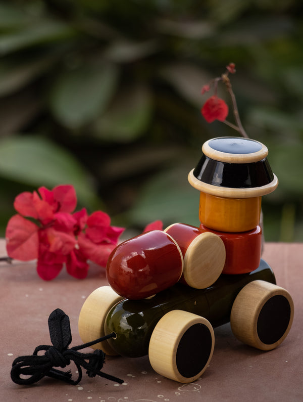 Engine - Wooden Stacker and Push Toy - The India Craft House