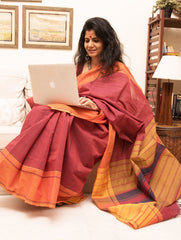 Ethnic Charm. Fine South Cotton Checked Saree (With Blouse Piece)