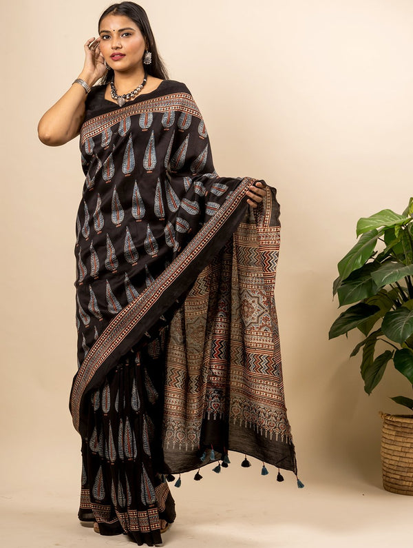 Exclusive Ajrakh Block Printed Chanderi Saree (With Blouse Piece)